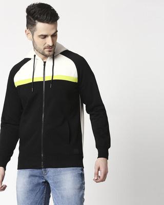 Shop Black Three Block Zipper Hoodie Sweatshirt-Front