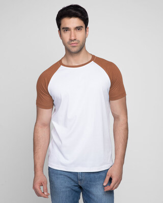 Shop White & Brown Half Sleeve Raglan T-Shirt-Front
