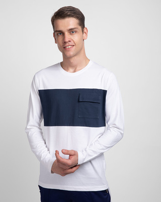 Shop White & Galaxy Blue 90's Vibe Cargo Pocket T-Shirt-Front