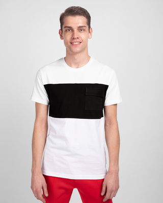 Shop White & Jet Black 90's Vibe Cargo Pocket T-Shirt-Front