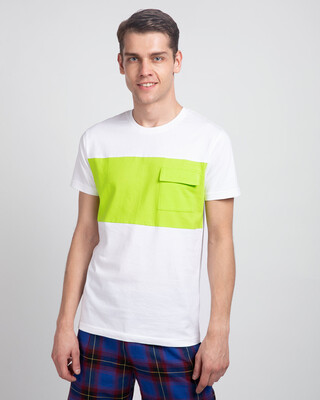 Shop White & Neon Green 90's Vibe Cargo Pocket T-Shirt-Front