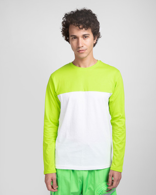 Shop White & Neon Green 90's Vibe Panel T-Shirt-Front