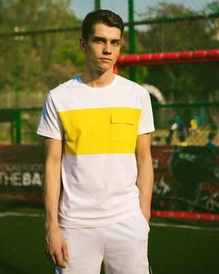 Shop White & Pineapple Yellow 90's Vibe Cargo Pocket T-Shirt-Front