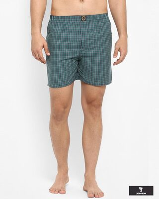 Shop Joven | White and Green Checked Boxers-Front
