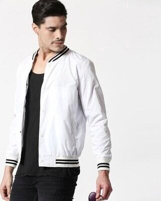 Shop White Anti Varsity Bomber Jacket-Front