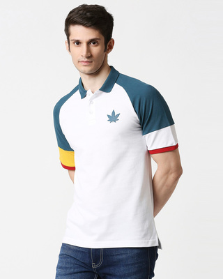 Shop White Half Sleeve Raglan Shoulder Cut & Sew Polo-Front