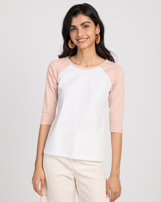 Shop White-Baby Pink 3/4th Sleeve Raglan T-Shirt-Front