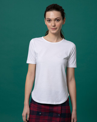 Shop White Basic Round Hem T-Shirt-Front