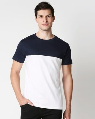 Shop Blue Half Sleeves Two Panel T-Shirt-Front