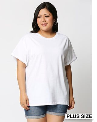 Shop White Boyfriend Plus Size T-Shirt-Front