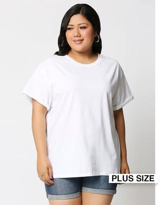 Shop White Boyfriend Plus Size T-Shirt-Front