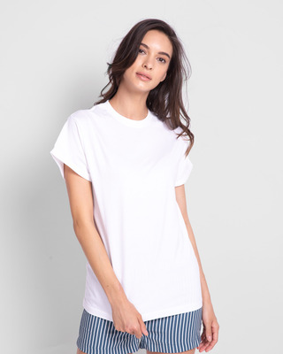 Shop White Boyfriend T-Shirt-Front