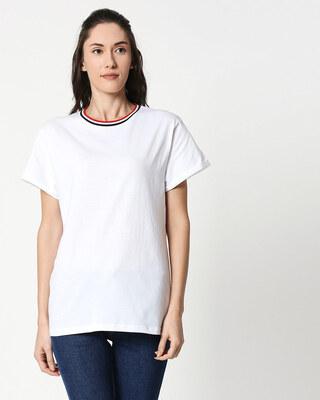 Shop White Boyfriend Varsity Rib T-shirt-Front