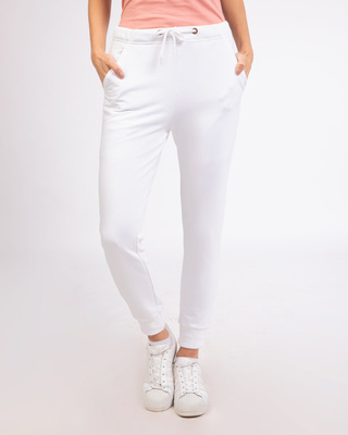 Shop White Casual Jogger Pants-Front