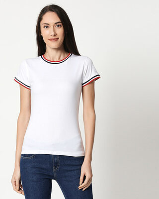 Shop White Crewneck Varsity Rib Half Sleeves T-shirt-Front
