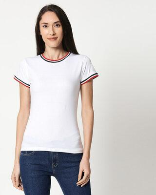 Shop White Crewneck Varsity Rib Half Sleeves T-shirt-Front