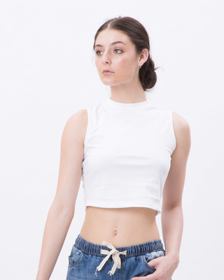 Shop White Cropped Tank Top-Front