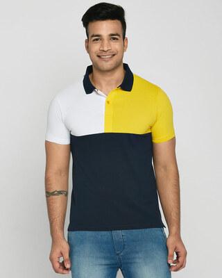 Shop White-Cyber Yellow-Dark Navy Half & Half Polo T-Shirt-Front