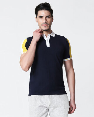 Shop Men's Dark Navy-White Sporty Sleeve Panel Polo T-Shirt-Front