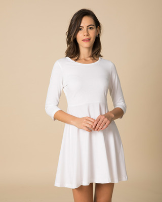 Shop White Flared Dress-Front