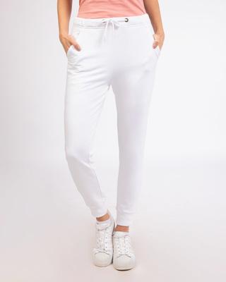 Shop White Fleece Joggers-Front