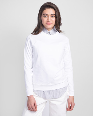 Shop White Fleece Light Sweatshirt-Front