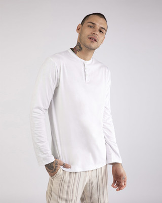 Shop White Full Sleeve Henley T-Shirt-Front