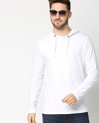 Shop White Full Sleeve Hoodie T-Shirt-Front
