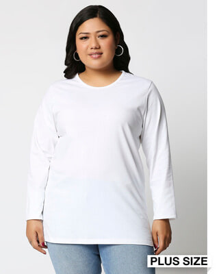 Shop White Full Sleeve Plus Size T-Shirt-Front