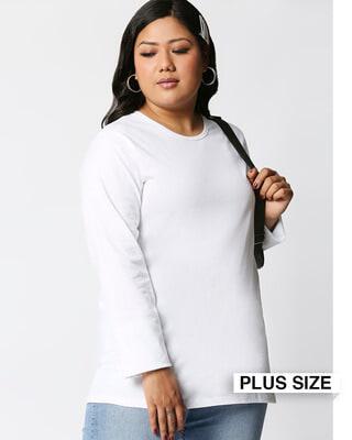 Shop White Full Sleeve Plus Size T-Shirt-Front