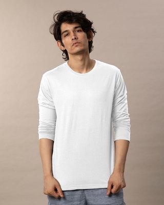 Shop White Full Sleeve T-Shirt-Front