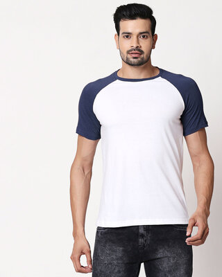 Shop White Galaxy Blue Half Sleeve Raglan T-Shirt-Front