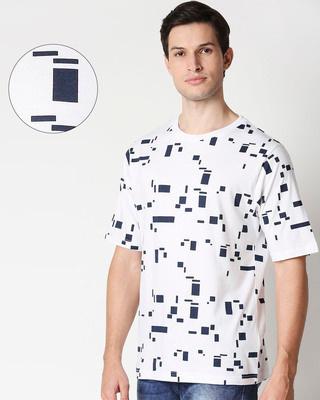 Shop White Glitch Blocks AOP Half Sleeve T-Shirt-Front