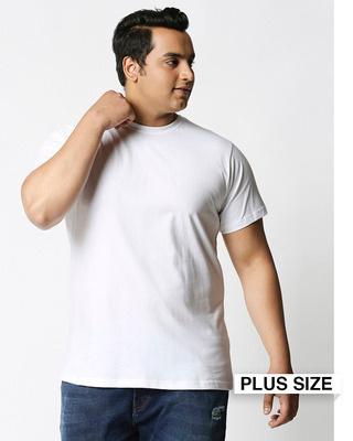 Shop White Half Sleeve Plus Size T-Shirt-Front