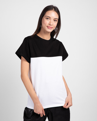 Shop White-Jet Black 90's Vibe Boyfriend Panel T-Shirt-Front
