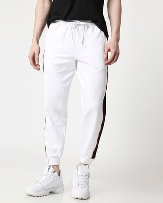 Shop Men Contrast Velcro Detailed Color Block White Joggers-Front