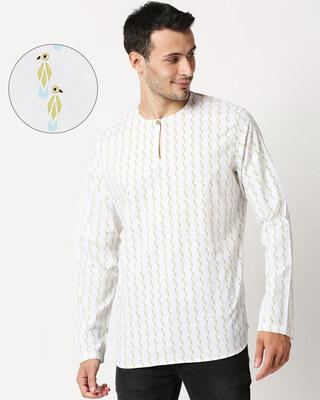 Shop White Men's Printed Kurta Short-Front
