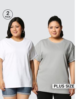 Shop White-Meteor Grey Boyfriend Plus Size T-Shirt Combo-Front