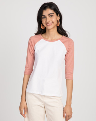 Shop White-Misty Pink 3/4th Sleeve Raglan T-Shirt-Front