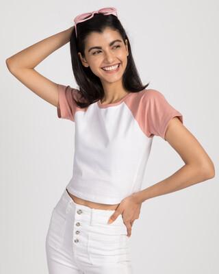 Shop White-Misty Pink Round Neck Raglan Crop Top-Front