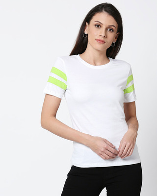 Shop White-Neon Green Double Tape Boyfriend T-Shirt-Front