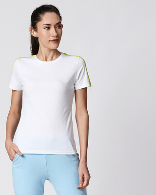 Shop White-Neon Green Shoulder Sleeve Half Sleeves T-Shirt-Front