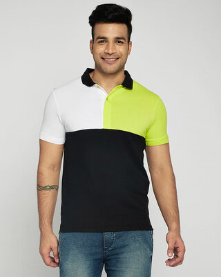 Shop White-Neon Lime-Black Half & Half Polo T-Shirt-Front