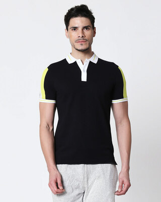 Shop Men's Black-White Sporty Sleeve Panel Polo T-Shirt-Front