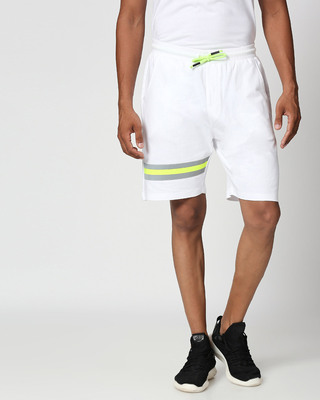 Shop White-Neon Lime Reflector Shorts-Front