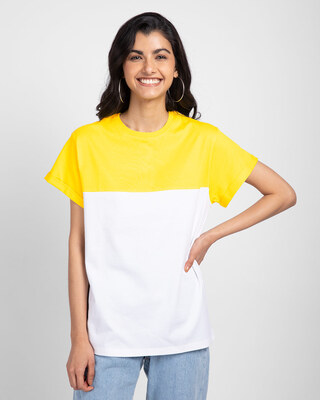 Shop Pineapple Yellow- White Color Block Boyfriend T-shirt-Front