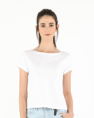 Shop White Pique Cropped Top-Front