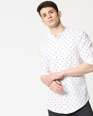 Shop White Poplin Print Shirt-Front