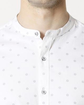 Shop White Prnt Twill Lycra Print Shirt-Front