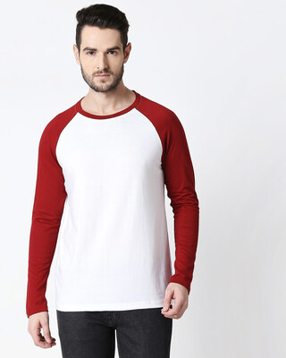 Shop White-Scarlet Red Full Sleeve Raglan T-Shirt-Front